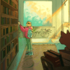 Illustration of person looking at bookshelf