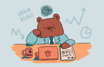 Illustration of bear working