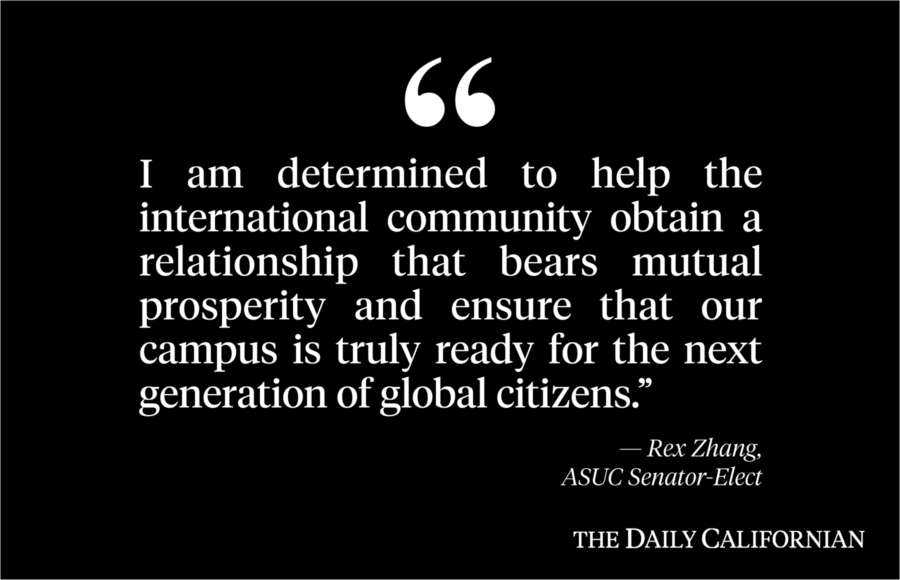 Text on black background of a quote by Rex Zhang, UC Berkeley ASUC Senator-Elect