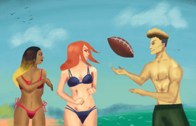 Illustration of two women and a man in swimwear playing with a football on the beach.