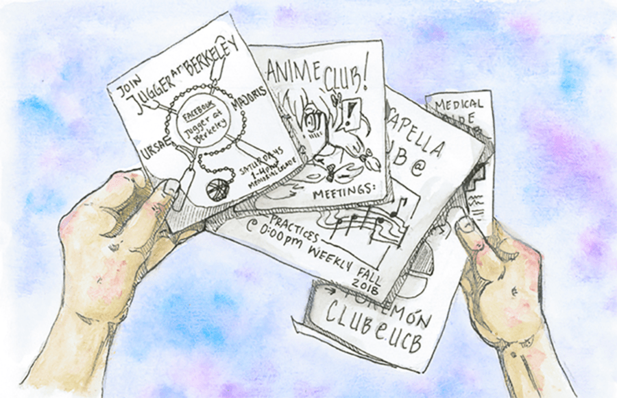 Illustration of a person holding flyers for various Berkeley clubs