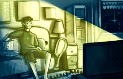 Illustration of a person peacefully sitting on a couch, eating popcorn, and watching TV