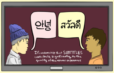 Illustration of two characters on a TV screen speaking different languages