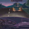 Illustration of a dark road during sunset, with an RV driving ahead on the road, by Emily Bi