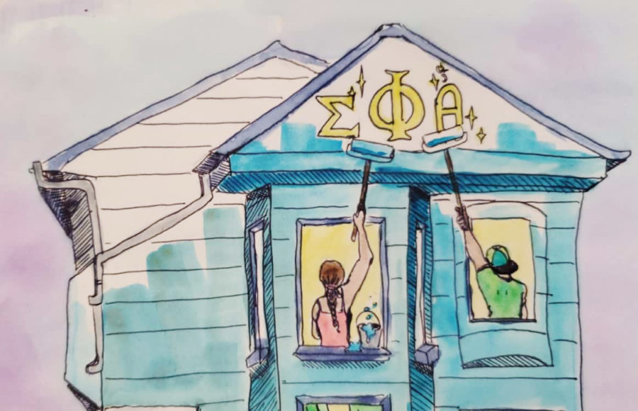 Illustration of students from a fraternity and sorority repainting a house with Greek letters on it