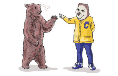 Illustration of Oski pointing at confused bear