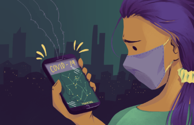 Illustration of a worried person looking at a COVID-19 tracking app on their phone