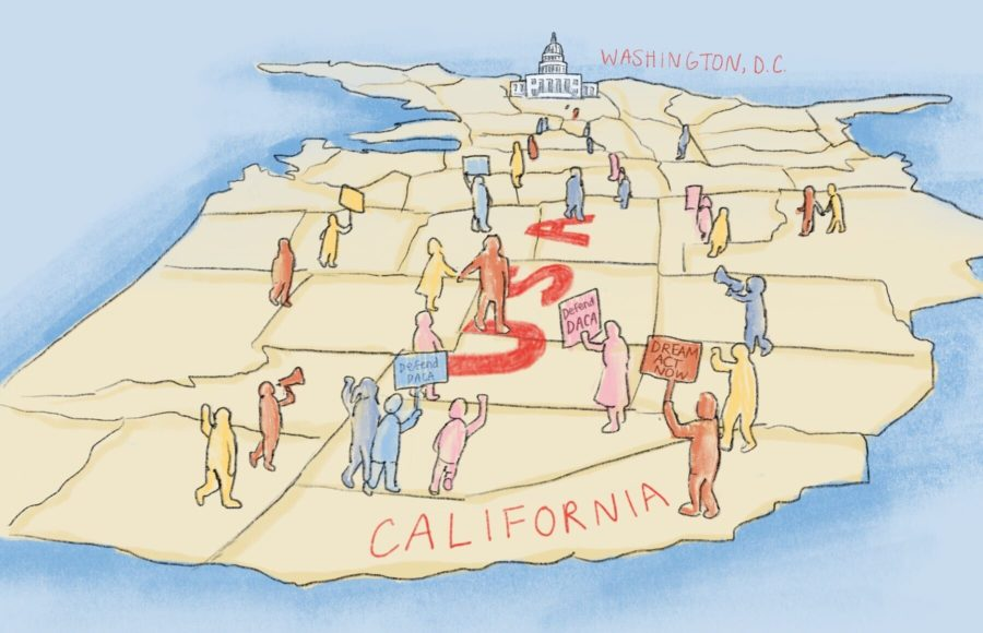 Illustration of a group of protesters moving across a map of the United States, Washington, D.C., distant in the background