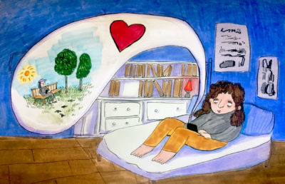 Illustration of a person lying on their bed and texting a loved one