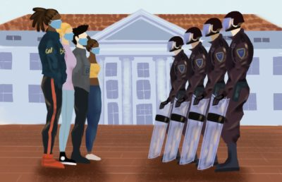 Illustration of student protesters in front of UC Berkeley's Sproul Hall, facing members of the UCPD, by Lucy Yang.