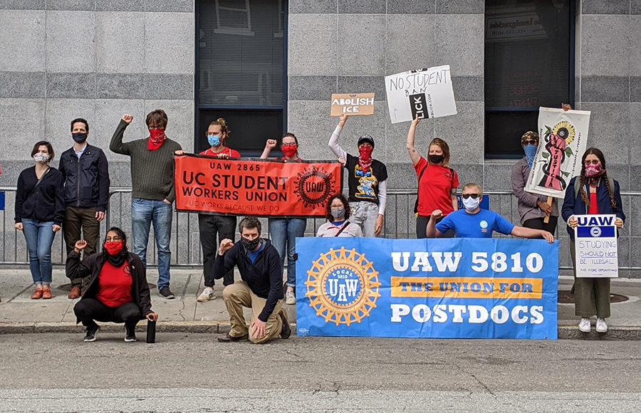UAW Local 2865 protests against ICE international students ruling at the ICE field office in San Francisco.