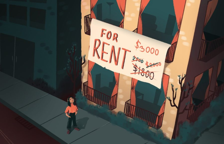 Illustration of a person looking up at an apartment for rent that has had steadily increasing prices