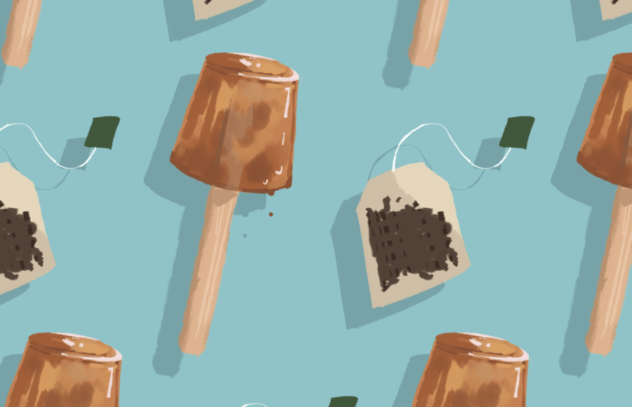 Illustration of tea bags and homemade tea popsicles against a blue background