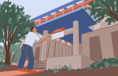 Illustration of person renaming a building on the UC Berkeley campus