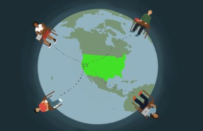 Illustration of students at different points on a globe, with arrows pointing from them to California