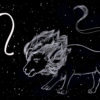 Illustration of a lion against a starry background, next to the zodiac sign for Leo