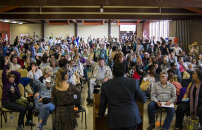 Photo of the in-person Berkeley Rent Stabilization Board Convention from 2016.