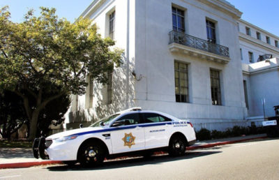UCPD car outside of Sproul Hall at UC Berkeley