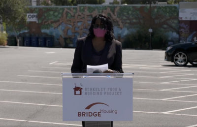 Berkeley City Manager Dee Williams-Ridley speaking at Berkeley Way Project event