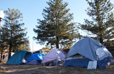 Exterior shot of a Homeless Encampment in Berkeley, California.
