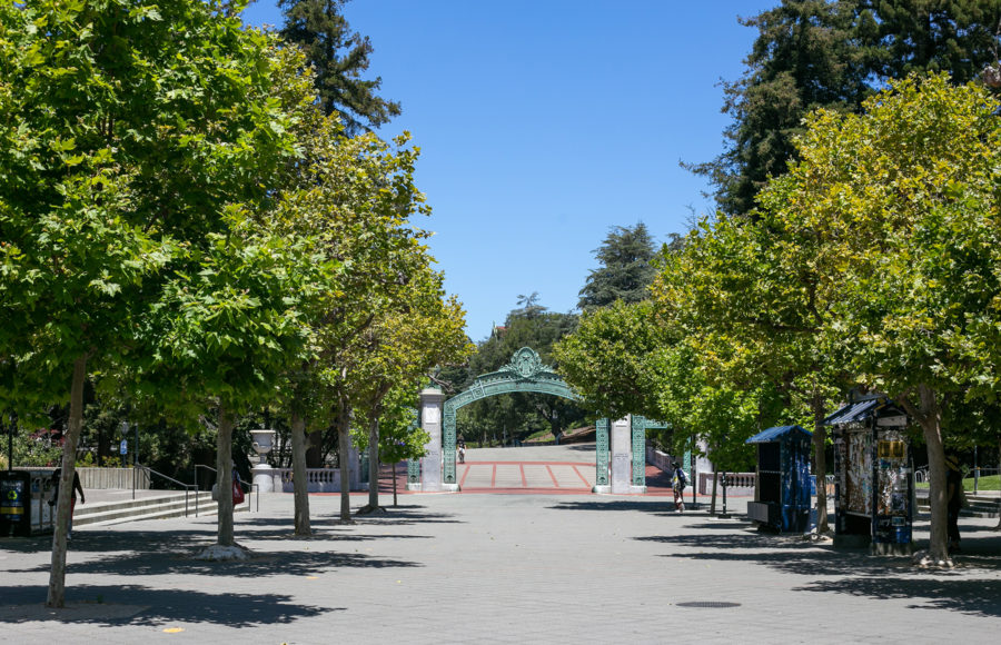 Photo of UC Berkeley's Sproul Plaza and Sather Gate, nearly empty due to coronavirus.