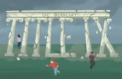 "Illustration of an old building shaped like the words ""TITLE IX"" crumbling, as people run from it"
