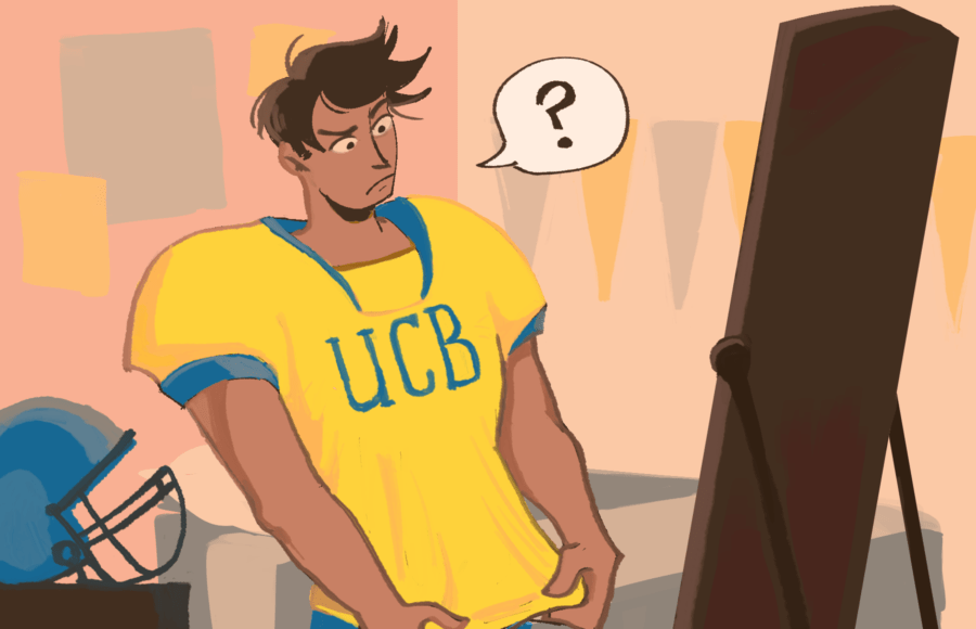 """Illustration of a Cal football player looking at his jersey, which reads """"UCB,"""" in confusion"""