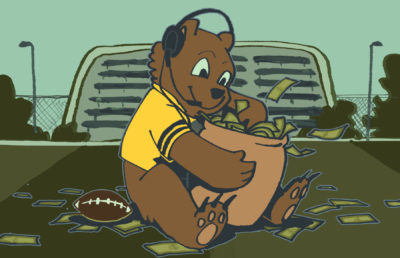 Illustration of Oski Bear in football coach attire, sitting on a football field as he digs his hand into an overflowing money pot.