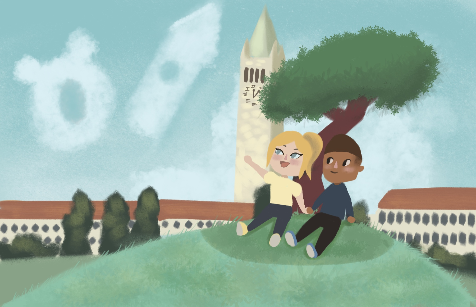 Illustration of two students sitting on a hill in UC Berkeley's Memorial Glade, looking at clouds shaped like Oski and the Campanile