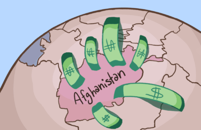 Illustration of Afghanistan on a globe, connected to various neighboring countries with dollar bills