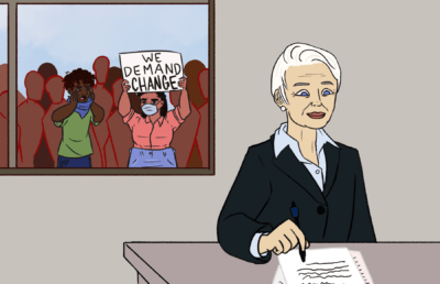 Illustration of Chancellor Carol Christ working in her office, while protesters are visible outside her window