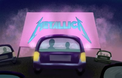 Illustration of 5 cars at a drive-in Metallica concert, viewing a screen with the Metallica logo on it.