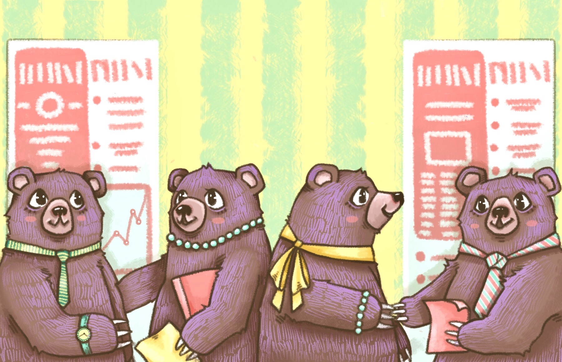Illustration of four bears at a career fair, greeting each other and exchanging resumes.