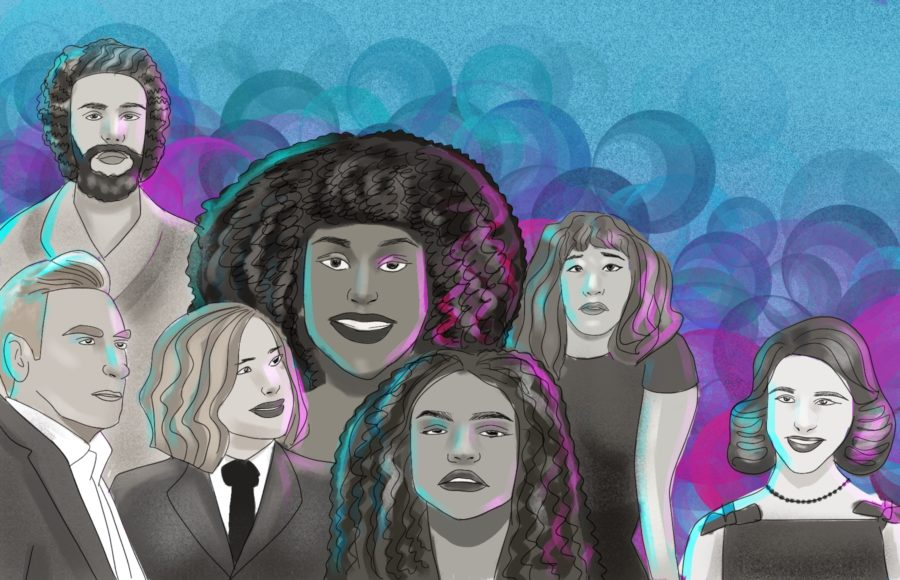 Illustration of predicted 2020 Emmy award winners, ranging from Sandra Oh and Issa Rae to Sandra Oh.