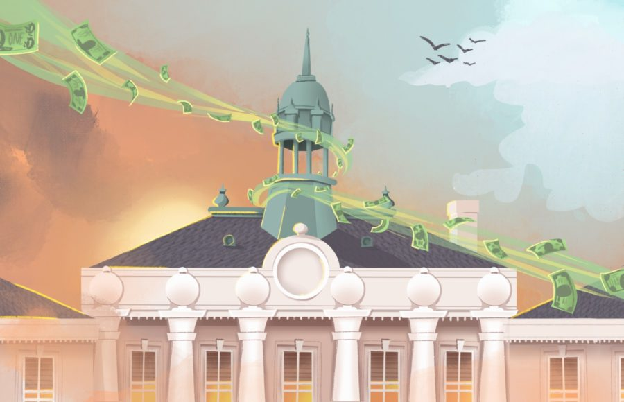 Illustration of dollar bills creating an improvement in air quality around Berkeley City Hall.