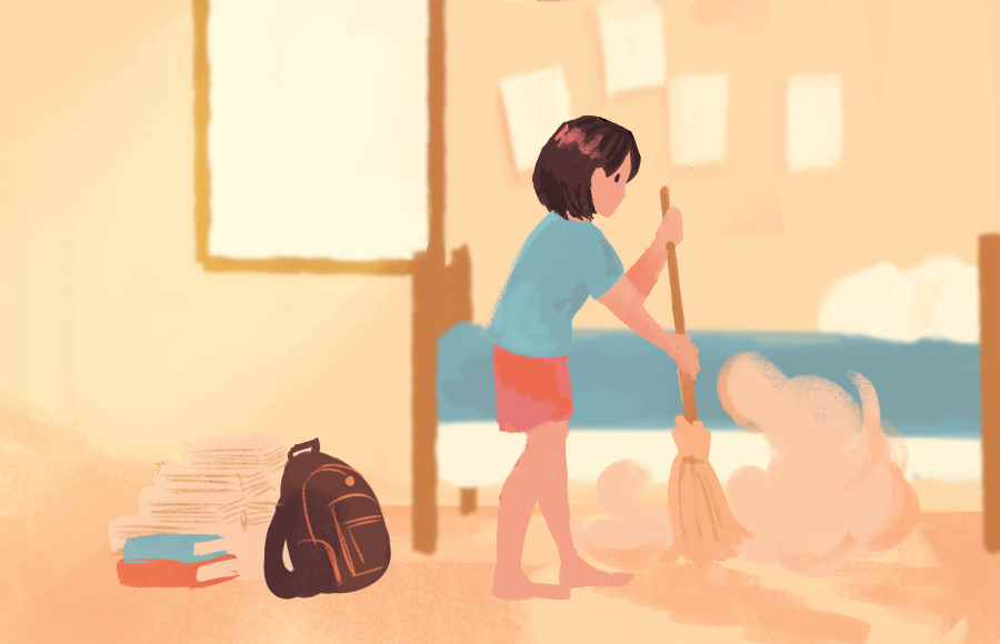 Illustration of a person cleaning their room by sweeping dust off the floor.