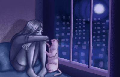 Illustration of a girl looking sadly out her window at the city lights, while her cat paws at her.