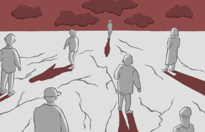 Illustration of seven people walking alone and towards a red sky, on a flat expanse full of fissures.