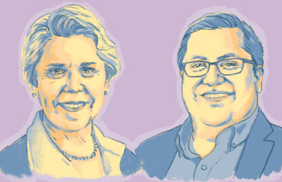Illustration of Chancellor Carol Christ and Mayor Jesse Arreguín's headshots.
