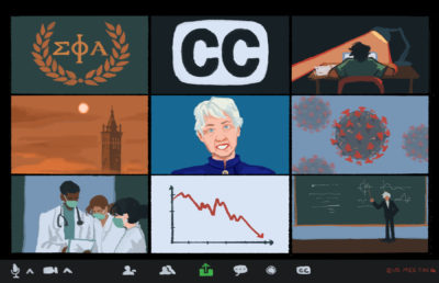 Illustration of different scenes displayed as the interface of a zoom call, representing the current circumstance in Berkeley as a campus and a city.