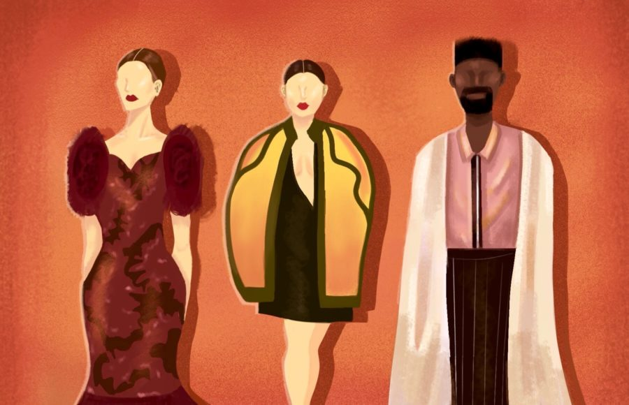 Illustration of three models wearing different couture looks inspired from international cultures and California.