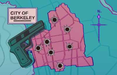 Illustration of a handgun resting on a map of Berkeley with bullet holes in it, representing the locations of recent armed incidents in the city.