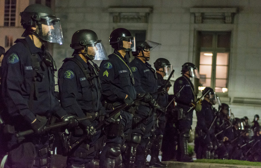 Photo of police at a protest on the UC Berkeley Campus