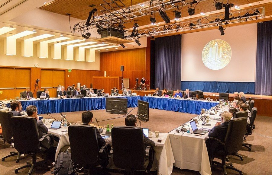 Photo of a UC Board of Regents meeting