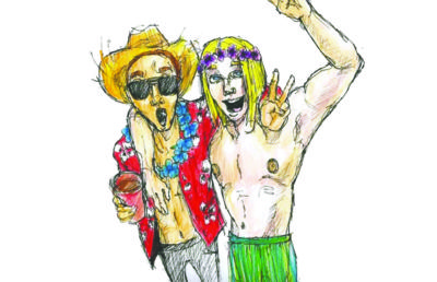 Illustration of two people in Halloween costumes, one of the costumes being culturally-appropriative