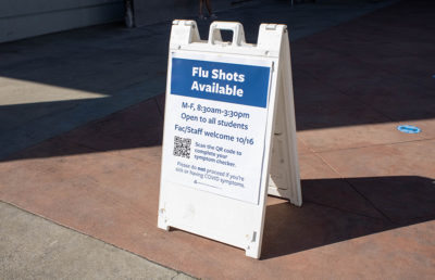 Photo of flu shot sign at RSF