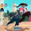 Illustration of a shounen anime-style action scene with oski bear flying in pursuit of two students.