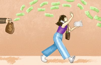 Illustration of a girl running to try to catch money in the air with her full hands, as it flies into a bag being held by someone in a suit.