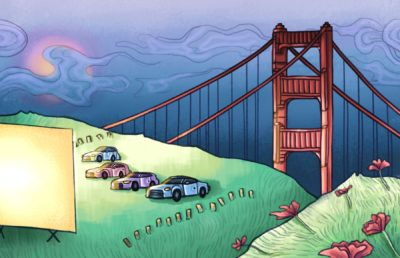 Illustration of four cars at a drive-in movie showing with the Golden Gate Bridge in the background.
