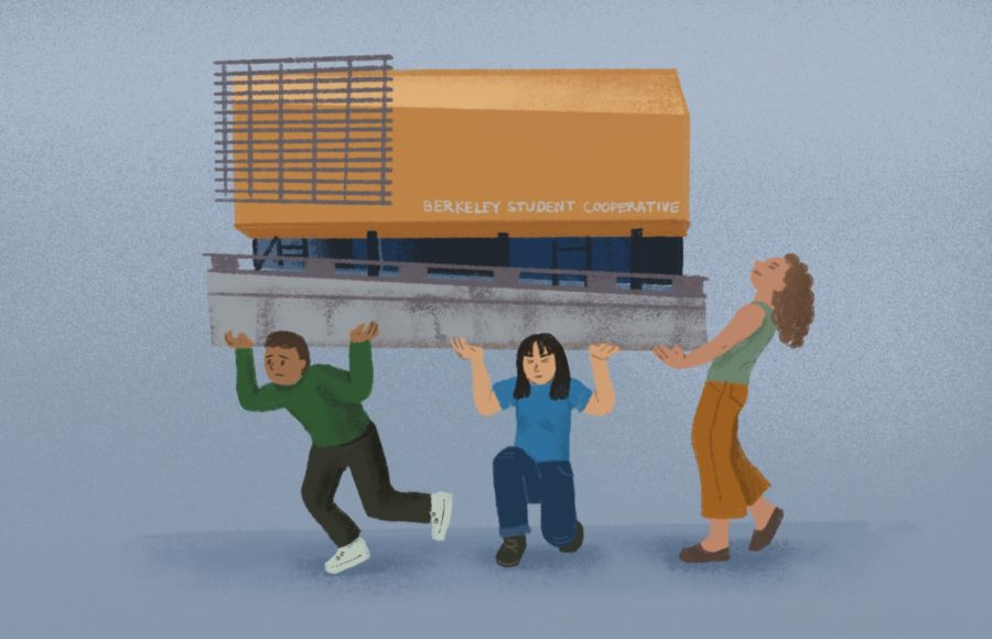 Illustration of three students trying to carry a model of the Berkeley Student Cooperative building, by Emily Bi.